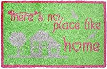 LifeStyle-Mat 200298 Like Home, rutschfeste und waschbare Fußmatte, ideal für den Eingang, die Garderobe oder Küche, 40 x 60 cm, grün/rosa