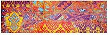 LifeStyle-Mat 200410 Worn, rutschfester und waschbarer Läufer, ideal für die Garderobe, Küche oder Schlafzimmer, 50 x 150 cm, violett/gelb