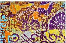 LifeStyle-Mat 200564 Blätterrascheln, rutschfeste und waschbare Fußmatte, ideal für den Eingang, die Garderobe oder Küche, 50 x 75 cm, violett/orange