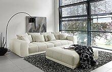 lifestyle4living Big Sofa in weiß/grau mit