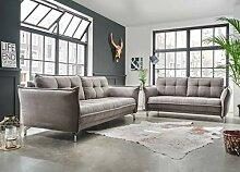 lifestyle4living Couchgarnitur in grauem Stoff