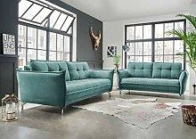 lifestyle4living Couchgarnitur in mintfarbenem