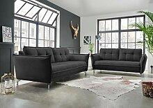 lifestyle4living Couchgarnitur in schwarzem Stoff