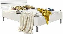 lifestyle4living Futonbett 140x200, Weiß mit