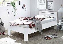 lifestyle4living Futonbett 90x200 cm, Weiß mit