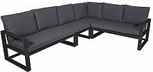 lifestyle4living Gartenbank 6-Sitzer aus Aluminium