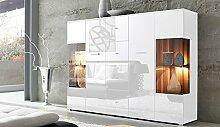 lifestyle4living Highboard mit Fronten in weiß