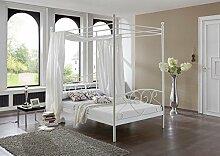 lifestyle4living Himmelbett in Weiß mit Matratze