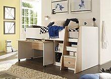 lifestyle4living Jugendzimmer, Kinderzimmer, Jugendzimmermöbel, Kinderzimmermöbel, Sonoma, Eiche, Sägerau, Weiß, Etagenbett, Hochbett, Schreibtisch, Kleiderschrank