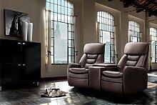lifestyle4living Kinosessel 2-Sitzer, Kunstleder, dunkelbraun   Hochwertiger 2er Cinema-Sessel/Sofa mit Getränkehalter & Liegefunktion für entspannte Heimkino-Abende