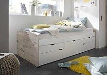 lifestyle4living Kojenbett in Sandeiche-NB und Absetzungen in Weiß, Tandemliege und 3 Schubkästen, Liegefläche: ca. 90 x 200 cm