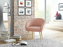 lifestyle4living Loungestuhl, Loungesessel, Relaxstuhl, Relaxsessel, Clubsessel, TV-Sessel, Ruhesessel, Fernsehsessel, Wohnzimmersessel, Webstoff, Stoff, rosa, Holz
