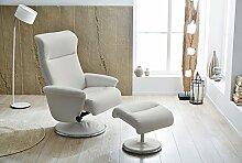 lifestyle4living Relax Sessel, Fernsehsessel, TV Sessel, Funktionsessel, mit Hocker, Loungesessel, Lesesessel, Relaxliege, Kunstleder, Chrom, Weiß, Polsterung