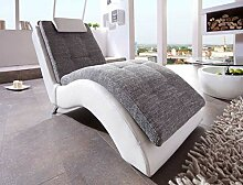 lifestyle4living Relaxliege in weiß und grau.