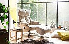 lifestyle4living Relaxsessel in beige mit Hocker,