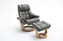 lifestyle4living Relaxsessel in Braun, Echtleder,
