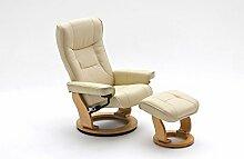 lifestyle4living Relaxsessel Leder, beige, Hocker