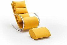 lifestyle4living Relaxsessel mit Hocker in gelb,