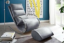 lifestyle4living Relaxsessel mit Hocker in grau,