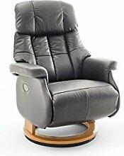 lifestyle4living Relaxsessel XL aus Leder in Grau
