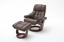 lifestyle4living Relaxsessel XXL Leder, Braun, Hocker | Fernsehsessel | Mega-Sessel | Big Sessel | Großer Ruhesessel | Schlafsessel