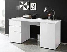 lifestyle4living Schreibtisch in Weiß, Hochglanz,