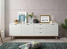 lifestyle4living Sideboard in weiß mit Unterbau