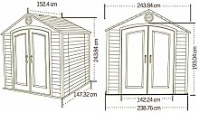 Lifetime Kunststoff Gerätehaus Garten Kompakt 244x153cm; Gerätehaus Kunststoff Gartenhaus Kunststoff inkl. Fenstern