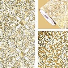 Lifetree Dekorative Selbstklebend Tapete Einfach Anzubringen Wandtapete (45x500cm) - Vierblättrig Blumen