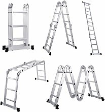 Lifewit Leiter Alu Mehrzweckleiter 3.8M Vielzweckleiter 3X4 Sprossen Stufenleiter Anlegeleiter Stehleiter Treppenleiter Klappleiter