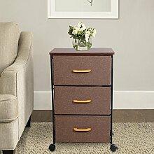Lifewit Rollcontainer, Aufbewahrung Kommode Schubladenschrank Sideboard, Rollwagen Nachttisch mit 3 Schubladen, für Büro Haushalt Wohnzimmer, Braun