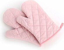 Lifeyz 1 Paar Backen Handschuhe Thick Hitzebeständiges Isolierung Wärme Proof Topflappen Handschuh Baumwolle Ofen handschuh Küche Ofen handschuhe (Rosa)