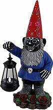 Light of the Dead schwarz Sugar Skull Garden Gnome Solar Laterne Statue 40,6cm