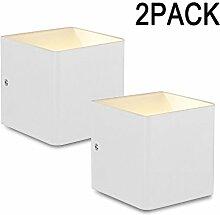 Lightess 2er 5W Wandleuchte LED Innen Modern Weiss