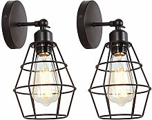 LIGHTESS 2er Pack Wandleuchte Vintage E27