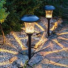 Lights4fun 2er Set LED Solar Glas Stableuchten