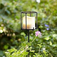 Lights4fun 2er Set Metall Fackeln 115cm hoch inkl.
