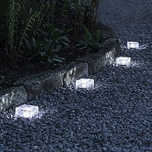 Lights4fun 4er Set LED Solar Glas Pflastersteine