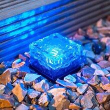 Lights4fun 4er Set LED Solar Glas Pflastersteine