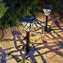 Lights4fun 4er Set LED Solar Wegbeleuchtung Vintage