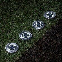 Lights4fun 4er Set Solar Edelstahl Wegeleuchten