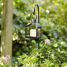 Lights4fun Gartenlaterne mit LED Kerze Timer