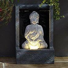 Lights4fun LED Buddha Brunnen beleuchtet grau