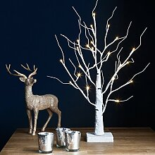 Lights4fun LED Deko Baum Weihnachtsbaum weiß 60cm