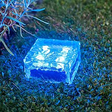 Lights4fun LED Solar Glas Pflasterstein