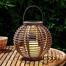 Lights4fun LED Solar Laterne Gartendeko Rattan
