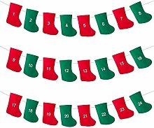 LIHAO Weihnachtsstrumpf Adventskalender Girlande