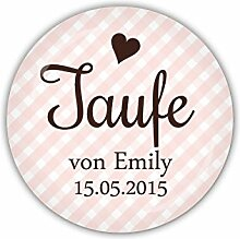 "lijelove Buttons, 04-020W, ""Vichy"" Taufe rosa, personalisiert, rosa, 38 mm"