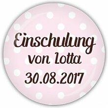 lijelove Magnet PMA048, 'Dots' Einschulung personalisiert, rosa, 38 mm Ø