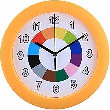 Likeluk Wanduhr Kinder, Kinderwanduhr (Ø) 25cm Kinder Wanduhr mit lautlosem Uhrenwerk und farbenfrohem Design
